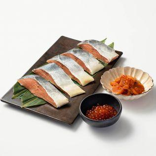【12月25日お届け】丸亀 熟成焼用中辛鮭と魚卵詰合せ