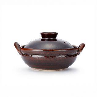 竜清窯 アメ釉 手造り6号土鍋