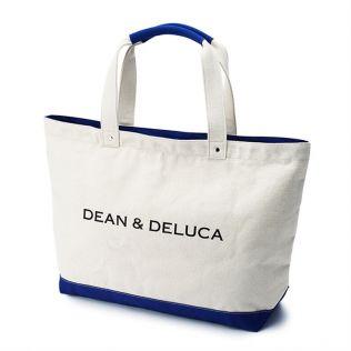 DEAN & DELUCA キャンバストートバッグ ブルー&ナチュラル  Lサイズ