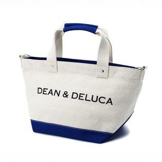 <完売>DEAN & DELUCA キャンバストートバッグ ブルー&ナチュラル Sサイズ